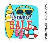 set of doodle fun summer... | Shutterstock .eps vector #1130217992