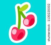 cherry cartoon sticker. nice... | Shutterstock .eps vector #1130220332