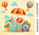 summer travel flat banner.... | Shutterstock .eps vector #1130220485