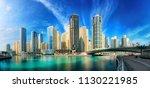 dubai marina under the blue sky ...   Shutterstock . vector #1130221985