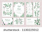 wedding card templates set with ... | Shutterstock .eps vector #1130225012