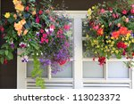 Flowers In Hanging Baskets Wit...