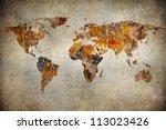 grunge map of the world | Shutterstock . vector #113023426