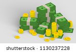pile of banknotes and stack of... | Shutterstock . vector #1130237228