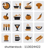 vector black kitchen icons set... | Shutterstock .eps vector #113024422