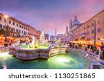 piazza navona in rome  italy at ... | Shutterstock . vector #1130251865