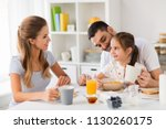 family  eating and people... | Shutterstock . vector #1130260175