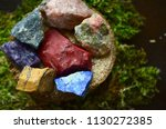set of 7 raw crystal bundle.   | Shutterstock . vector #1130272385
