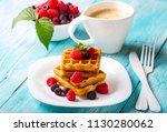 waffle dessert fruit berries... | Shutterstock . vector #1130280062