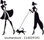 silhouette fashion girls | Shutterstock .eps vector #113029192