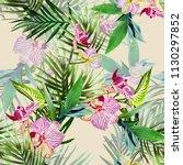 orchid flowers seamless pattern.... | Shutterstock . vector #1130297852