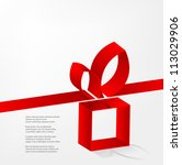 vector red ribbon with a bow... | Shutterstock .eps vector #113029906