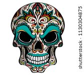 day of the dead  skull with... | Shutterstock .eps vector #1130304875