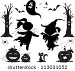 halloween black icons for kids  ... | Shutterstock .eps vector #113031052
