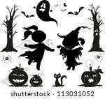 halloween black icons for kids  ... | Shutterstock .eps vector #113031052