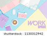 workspace flat lay stationery... | Shutterstock .eps vector #1130312942