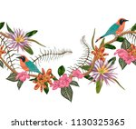 seamless border with tropical... | Shutterstock .eps vector #1130325365