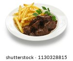 carbonade flamande with frites  ... | Shutterstock . vector #1130328815