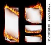 realistic fire flames banner... | Shutterstock .eps vector #1130336672
