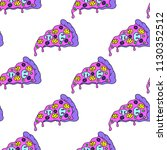 crazy pizza seamless pattern.... | Shutterstock .eps vector #1130352512