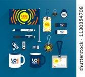 blue promotional souvenirs... | Shutterstock .eps vector #1130354708