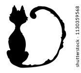 Stock vector spooky black cat sitting 1130359568