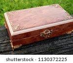 box of mahogany wawona handmade ... | Shutterstock . vector #1130372225