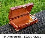 box of mahogany wawona handmade ... | Shutterstock . vector #1130372282