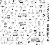 back to school seamless doodle... | Shutterstock .eps vector #1130372738