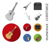 electric guitar  loudspeaker ... | Shutterstock .eps vector #1130376812