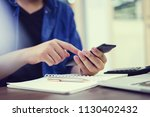user businessman hold smart... | Shutterstock . vector #1130402432