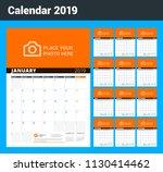wall calendar planner for 2019...   Shutterstock .eps vector #1130414462