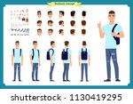 standing young boy. male... | Shutterstock .eps vector #1130419295
