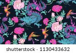 seamless pattern of colibri and ... | Shutterstock .eps vector #1130433632