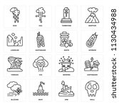 set of 16 icons such as skull ... | Shutterstock .eps vector #1130434988