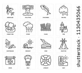 set of 16 icons such as heat ...