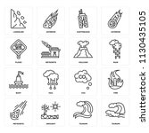 set of 16 icons such as tsunami ... | Shutterstock .eps vector #1130435105