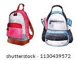 two drawn bagpacks | Shutterstock . vector #1130439572