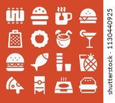 filled set of 16 food icons... | Shutterstock .eps vector #1130440925
