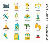 set of 16 icons such as mouth ...