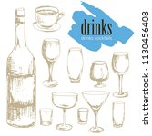 drinks  cocktails  menu  | Shutterstock .eps vector #1130456408