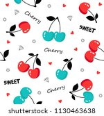 seamless pattern with cherries... | Shutterstock .eps vector #1130463638
