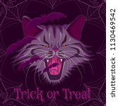 vector halloween purple... | Shutterstock .eps vector #1130469542