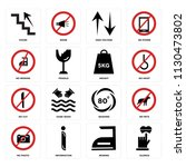 set of 16 icons such as silence ...