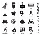 set of 16 icons such as plan ...