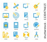 set of 16 icons such as compass ...