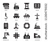 set of 16 icons such as lathe...