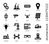 set of 16 icons such as oxygen  ...