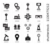 set of 16 icons such as danger  ...