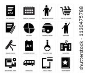 set of 16 icons such as... | Shutterstock .eps vector #1130475788